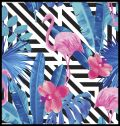 Pink Flamingos and Orchid Poster