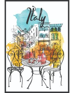Italy Watercolor Illustration Poster